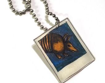 Shrink Plastic, Armadillo Polaroid Necklace, Shrinky Dink, Women's accessories, Gift Ideas, Handmade