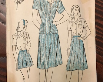 Advance Pattern 4300 | Bust 40 | Blouse Skirt Shorts Jacket 1940s 4-H Club Costume