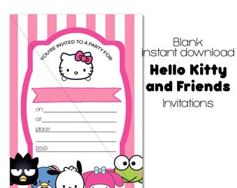 Hello Kitty Party Invitation, Instant Download, Fill-in 5x7 Party Invites, tsum tsum hello kitty Birthday Party Invitation, Sanrio friends