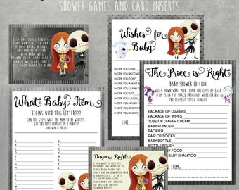 Nightmare Before Christmas Baby Shower Games Bundle, Instant Download, Jack Skellington, Diaper Raffle, Book Request Cards, Printable Games