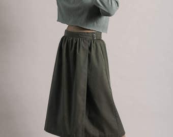 Vintage 70s Green Khaki Buckle Wrap Cotton Skirt / Full Midi Skirt / Medium