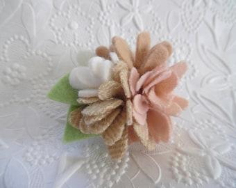 Felt Flower Brooch Pin Felted Wool Pink Beige
