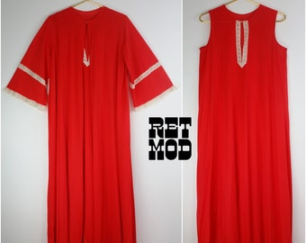 Comfy Vintage 60s 70s Red Nightgown Set with Matching Robe with White Lace Trim!
