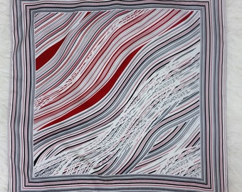 Nice Vintage Black, White and Red Graphic Waves Square Scarf