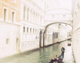 Venice Photograph, Bridge of Sighs, Gondola Print, Landscape Decor - Travel Photography, Italy Art, dark green, white wall art, pale orange