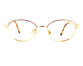 90s Mozart by Neostyle Eyeglasses Oval Frames Unisex 1990's Tortoiseshell with Gold Detail #M676 DIVINE