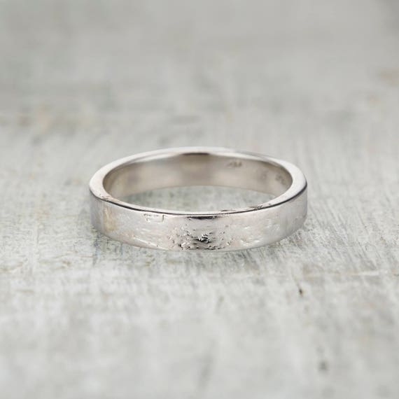4mm Wedding Ring Mens Square Band Textured Birch