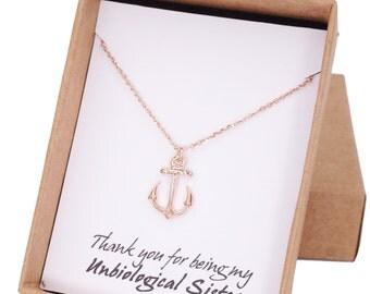 Rose Gold Anchor necklace - simple anchor necklace, nautical beach sea navy wedding, bridesmaid, teacher mentor mother