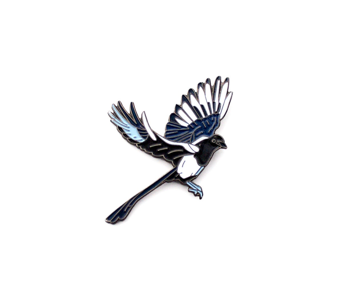 magpie lapel pin flying bird magpie enamel pin. Black Bedroom Furniture Sets. Home Design Ideas
