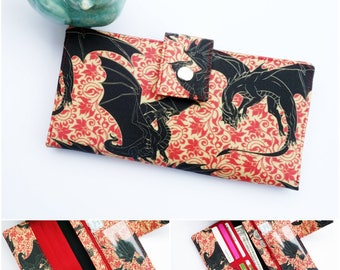 Game of Thrones wallet, women's wallet, geek clutch, vegan wallet women, bookworm for her, cute wallet, dragon gift, best selling wallet