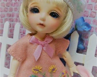 "6"" Pukifee, Yu Ping ""Garden"" Embroidered Dress and Beret FREE SHIP USA"