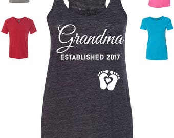 Custom Made Grandma Established 2017 T-Shirt Grandma Tank Top , Grandma T-Shirt, Grandma Raglan Vinyl or Glitter Print