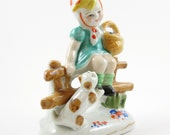 Girl on Fence with Cat Figurine Japan Vintage 1950's