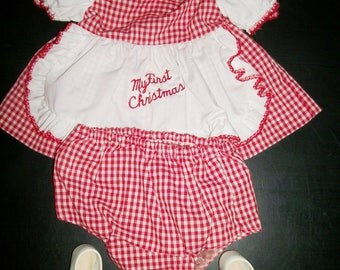 Vintage My First Christmas Baby Ensemble by Nat's Tiny Tots Red Gingham