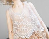 Beige tea dyed puffy lace shorts for Mini Super Dollfie MNF Minifee Volks Luts Soom Fairyland MSD Bluefairy