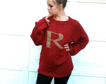 Deep Red Sweater with Gold Letter - Monogrammed Pullover - School Colours - House Colours - Add your letter of your choice