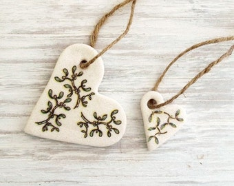 Salt Dough Ornament Set / Heart Ornament / Botanical Decoration  / Set of 2 / Guest Favors / Valentine Heart