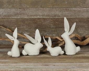 handmade wool felt sitting and standing rabbits: by kata golda