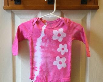Tie Dye Baby Bodysuit, Pink Baby Bodysuit, Flower Baby Bodysuit, Baby Girl Gift, Baby Shower Gift, Flower Girl Bodysuit (6 months)