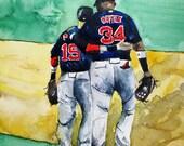 """DAVID ORTIZ, Watercolor Print, Red Sox Painting, , Watercolor Print ORIGINAL - Open Edition """"Big Pap"""" David Ortiz-Dustin Pedroia"""