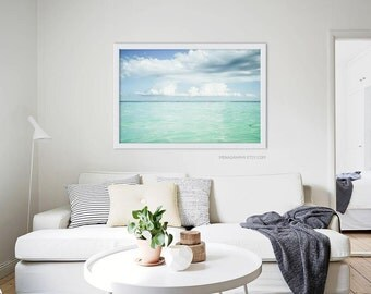Large Scale Print Living Room Art // Ocean Beach Photography // Blue Green  Ocean