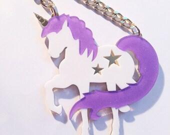 SALE Acrylic Unicorn Hooker Mirror Necklace Chunky Gold Chain