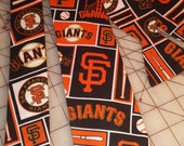 MLB San Francisco Giants Necktie in Bow Tie, Skinny Tie, or Standard Tie and kids or adult sizes, pocket squares, vests and cummerbund