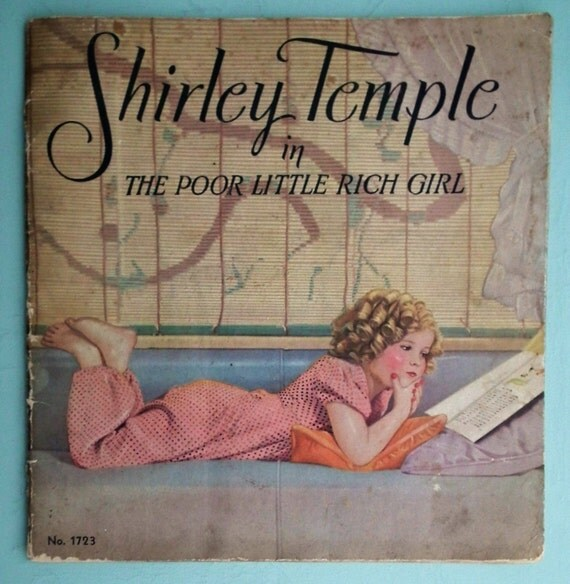 Vintage 30s Shirley Temple in The Poor Little Rich Girl Movie Film Book 1936 antique 1930s childrens book US movie stars