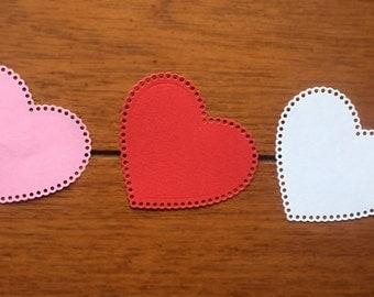 """Scalloped Hearts / Die Cut / 3"""" / Valentine DIY"""