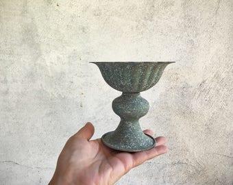 Vintage small bird bath or metal votive candle holder, rustic decor, Old World decor, home decor, patio garden decor, pedestal candleholder