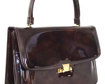 Vintage 60s Mod Elegant Lady Bag Brown Patent Top Handle Handbag