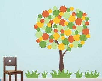 Polka Dot Tree Wall Decal - Tree Wall Sticker - Children Decor - Large