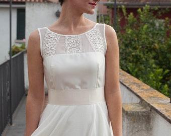 Ivory Boho Wedding Dress, Lace Wedding Dress, Simple Wedding Dress, Illusion Neckline Wedding Dress, Bohemiam Dress, Made to Measure
