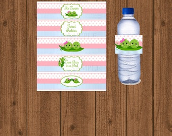 Two Peas in a Pod Water Bottle Label, Two Peas in a Pod Water Bottle Wrapper, Twins Baby Shower, Instant Download