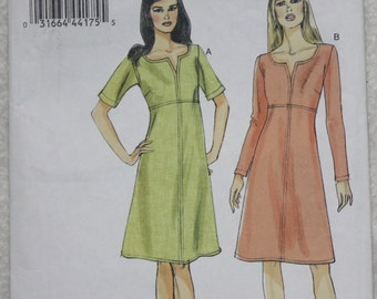 "Sz 8, 10, 12, 14, 16  Bust 31.5"" - 38"" Very Easy Vogue Sewing Pattern V8764 Dress with Long or Short Sleeves Custom Fit Bust"
