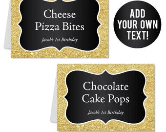 INSTANT DOWNLOAD Gold and Black Buffet Cards - Black and Gold Party - EDITABLE Printable File