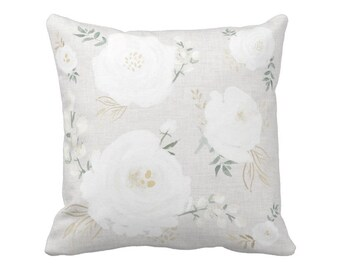 Pillow Cover White and Sage Peony