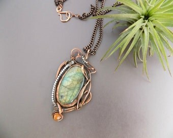 Large Labradorite Pendant Necklace, Copper Metalwork Necklace, Labradorite Jewelry Copper Abstract Pendant Necklace Mixed Metal Boho Jewelry
