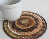 Coiled Rope Mat / Fabric Coiled Mat / Mug Rug / Trivet / Hot Pad / Eco Earth Brown Round by PrairieThreads