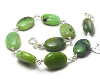 Green Chrysoprase Argentium Sterling Silver Wire Wrapped Bracelet