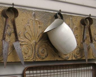 Large Rustic Coat Rack. Towel Rack. Kitchen Bath Coat Hooks. Antique Ceiling Tin Tile. Architectural salvage.