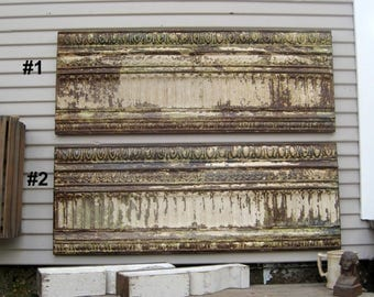 Framed 4 foot Antique Ceiling Tin. Rustic wall decor. Large wall art. Primitive Architectural salvage. Vintage Decor. French country decor