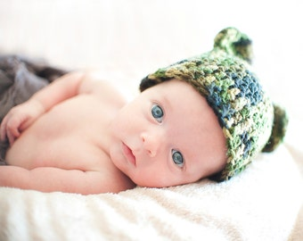 Newborn Camo Bear Hat Photo Prop