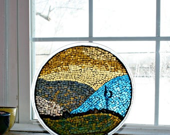 Mosaic Stained Glass Plate, Mosaic Art, Stained Glass, Stained Glass Mosaic, Glass Art, Abstract, Mixed Media, Mosaic Plate - 12 Inches