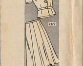 Vintage Mail Order Sewing Pattern 9372 / 1940s Jacket Skirt Suit / Bust 46