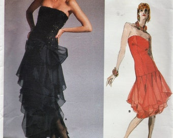 Vogue 1701 / Vintage Designer Original Sewing Pattern By Bellville Sassoon / Evening Dress / Strapless Gown / Size 16 Bust 38