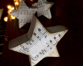 Sheet Music Wooden Stars  for Christmas