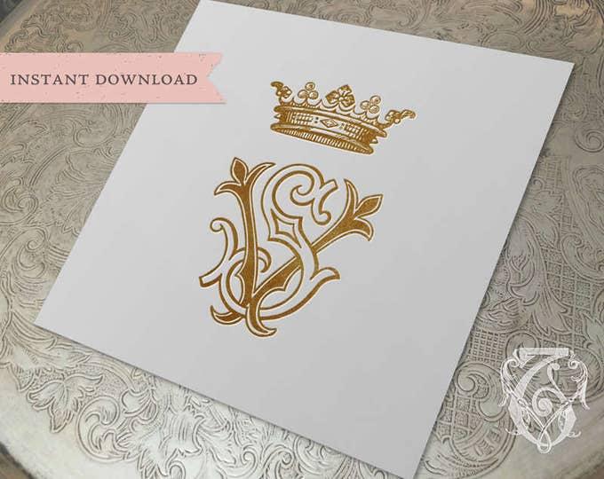 Vintage CROWN Wedding Monogram SV VS Digital Download S V