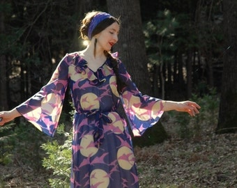 1970s Sheer Maxi Dress... Full Moon and Crane Print... Fairy Tales of the Sky
