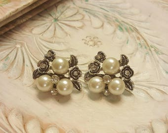 Rhinestone Pearly Floral Plugs Guages Wedding Prom 0g 8mm 2g 6mm  P12